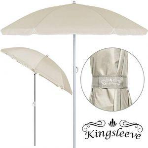 Deuba Kingsleeve Parasol Beige 180cm réglable en Hauteur Hydrofuge inclinable Plage Pique-Nique Robuste Jardin terrasse Pare-Soleil