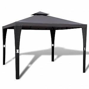 VidaXL Tonnelle en polyrotin avec toit gris foncé 3 x 3 m