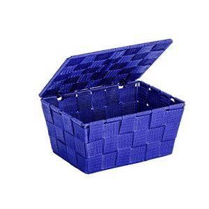 Wenko 22205100 Panier de Rangement avec Couvercle Adria Bleu, Polypropylène, 19 x 10 x 14 cm