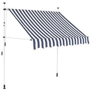 VidaXL Auvent rétractable manuel 200 cm Rayures bleues et blanches
