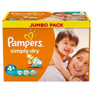 Pampers Simply Dry taille 4+ Maxi+ (9-20 kg) - Jumbo Pack 70 x 2 couches