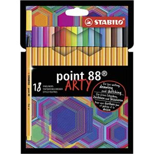 Stabilo Stylo feutre pointe fine Point 88 - Etui carton x18 stylos-feutres - gamme ARTY
