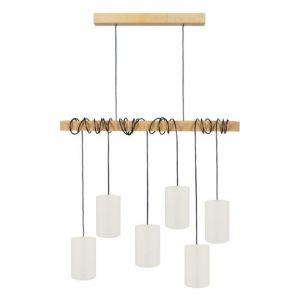 HARLEM Lustre 6 têtes en bois et coton L80 x H180 cm Blanc E27 6x40W