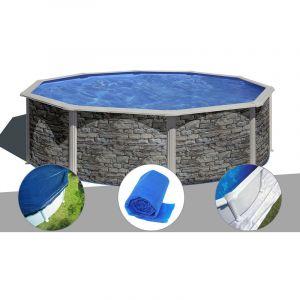 Gre Kit piscine acier aspect pierre Cerdeña ronde 4,80 x 1,22 m + Bâche hiver + Bâche à bulles + Tapis de sol