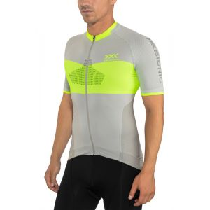 X-Bionic Invent 4.0 Bike Race Maillot Manches courtes Zip Homme, dolomite grey/phyton yellow S Maillots manches courtes sport