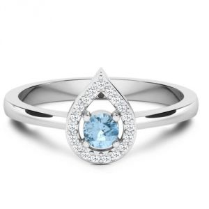 CaraShop 3663644083494 - Solitaire topaze bleue entouré de diamants en or blanc