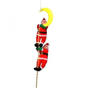 2 Père Noël grimpeurs avec cordon lumineux 36 LED