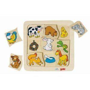 Goki 56880 - Puzzle Qui mange quoi ? 9 éléments