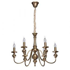 MW-Light 614010506 Lustre Chandelier Classique à 6 Bras en Métal couleur Laiton Lampes en Forme de Bougies pour Salon Chambre Salle à Manger 6x60W E14