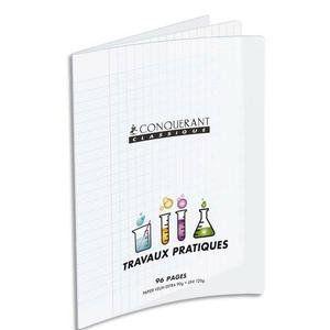 Conquerant Cahier Travaux Pratique piqûre 9 - 24x32 cm - 48 pages seyès et 48 pages unies - couveture incolore