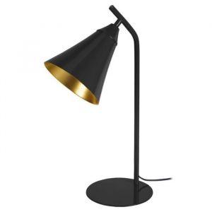 YORK Lampe à poser en métal Abat jour en cloc Ø 16 x H 46 cm Noir Style industriel E27 40W