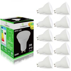 Lampesecoenergie Pack de 10 Ampoules Led GU10 5W Blanc Froid 6000K eq. 50W Halogène 120°