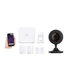New Deal Pack alarme avec 1 caméra ND-L15SV - Livrée avec 2 contacteurs, 2 télécommandes, 1 détecteur de mouvement et 1 caméra intérieure HD