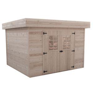 Habrita Abri de jardin bois toit plat avec bac acier 8.4 m²
