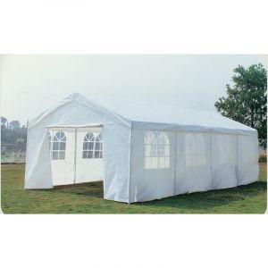 Grand pavillon de jardin blanc 8 x 4 m