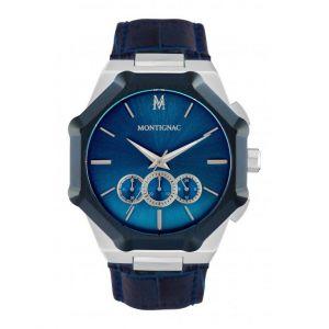Montignac Montre MOPE19B30 - Chronographe Bracelet Cuir Bleu Boitier Acier Argenté Cadran Bleu Homme
