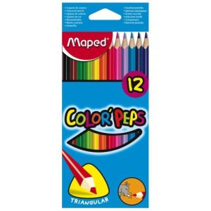 Maped 183212-3 - 12 Crayons de couleur Color'peps assortis