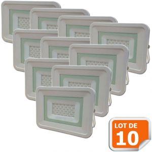Lampesecoenergie Lot de 10 LED Projecteur Lampe 30W Blanc 6000K IP65 Extra Plat