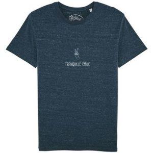 """Fashion manufacturer T-shirt Le Fabuleux Shaman Tee-shirt """"Tranquille Emile"""" bleu - Taille EU XXL,EU S,EU M,EU L,EU XL"""