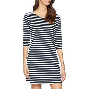 Only NOS Onlbrilliant 3/4 Dress JRS Noos Robe, Bleu (Sky Captain Stripes: Cloud Dancer), 42 (Taille Fabricant: Large) Femme