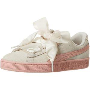 Puma Suede Heart Jewel Jr, Sneakers Basses Fille, Blanc (Whisper White-Peach Beige), 38 EU