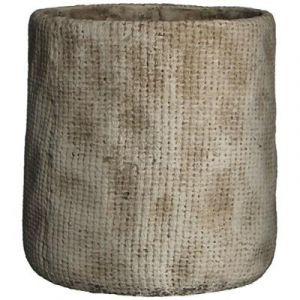 MICA Cache-pot rond Kyan - Beige - Hauteur: 21.5cm - Diamètre: 21cm