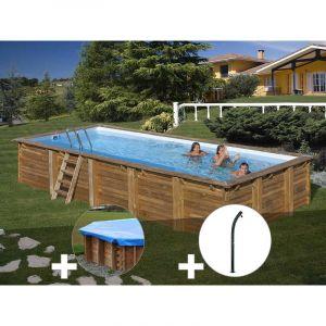 Sunbay Kit piscine bois Braga 8,00 x 4,00 x 1,46 m + Bâche hiver + Douche