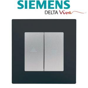 Siemens Interrupteur Volet Roulant Silver Delta Viva + Plaque Anthracite