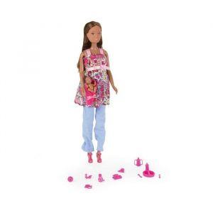 Simba Toys 105734000ETS - Steffi Love - Poupée et Mini Poupée - Steffi Brune Enceinte - 29 Cm