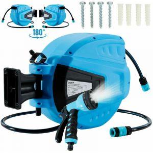 Arebos Enrouleur de tuyau pivotant de 30 m - Avec dispositif d'arrêt - Support mural - Mécanisme d'enroulement automatique - Bleu