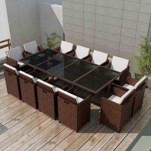 VidaXL Jeu de salle à manger d'extérieur 37 pcs Rotin synthétique Marron