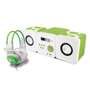 Metronic Ensemble Gulli chaîne radio CD USB et casque pour enfant - vert et blanc