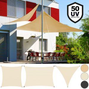 Deuba Detex Voile d'ombrage Protection contre le vent Auvent Oxford Triangulaire 3x3x3m Sable Jardin balcon terrasse