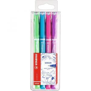 Stabilo 189/4-01 - Etui de 4 stylos-feutres SENSOR, tracé 0,3 mm, encre 4 coul. fun, coloris assortis