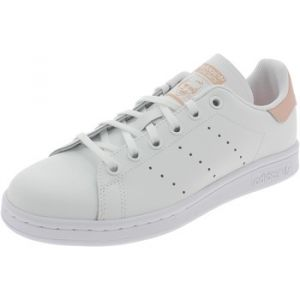 Adidas Stan Smith Cursive Logo cuir Enfant-33-Blanc Rose