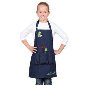 La cordeline Cjn45Jeg Tablier De Jardin Enfant Avec Ecussons/Poches Taille 6 À 8 Ans Coton Bleu Jean 48 X 03 X 56 Cm