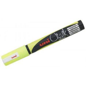Uni Ball PWE-5M J FLUO - Marqueur craie Chalk, pointe conique 1,8-2,5 mm, jaune fluo