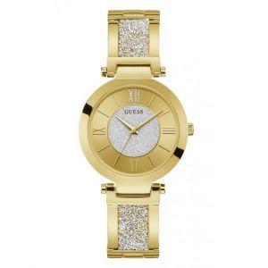 Guess Montre W1288L2 - AURORA Boîtier acier doré brillant cadran doré avec cristaux bracelet acier doré brillant pailleté G-Link Femme