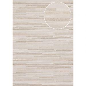 Atlas Papier peint aspect pierre carrelage ICO-6705-2 papier peint intissé lisse à l'aspect de pierre satiné blanc blanc-gris or 7,035 m2