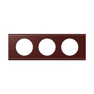 Legrand Plaque Céliane 3 postes cuir lie de vin