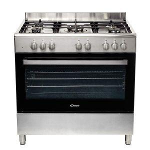 Candy CCGM9055PX - Piano de cuisine mixte 5 foyers gaz avec four électrique