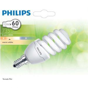 Philips Mini ampoule Tornado 12-60W E14, blanc chaud