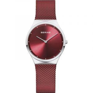 Bering Montre Femme Acier Milanais Rouge 12131-303
