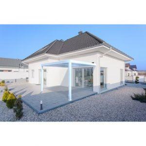 Pergola adossée Orient aluminium blanc 12 m²