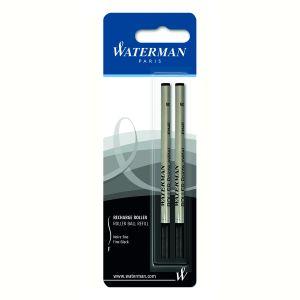 Waterman S0954850 Blister de 2 Recharges Roller à Pointe fine en encre Noir