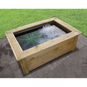 Ubbink 1471535 - Kit bassin quadra + contour bois 89 x 123 x h 45 cm + pompe powerclear
