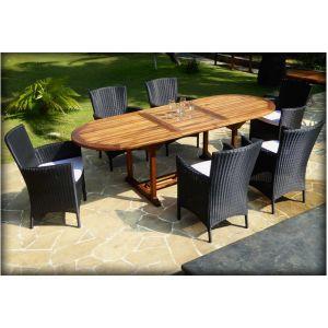 Wood-en-stock Table de jardin Java en teck avec 6 fauteuils Sydney en résine noire