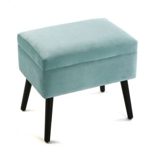 Wellindal Coffre Pouf Carré Velours Turquoise REYES