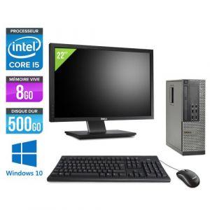 Dell Optiplex 7010 SFF + Ecran 22'' - Intel Core i5-3470 / 3.20 GHz - RAM 8 Go - HDD 500 Go - DVDRW - GigaBit Ethernet - Windows 10 Professionnel