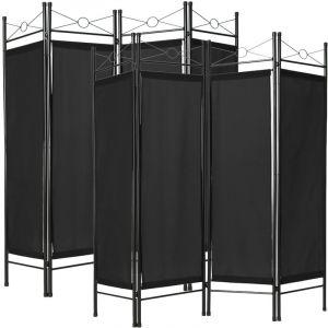 TecTake Paravent, Séparation de pièces, Cloison amovible, 4 Panneaux Pans Pliables Toile Polyester 180 cm x 160 cm x 2,5 cm Noir X2